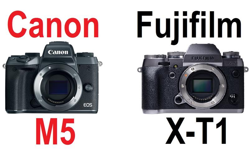 So sánh máy ảnh Fujifilm X-T1 và máy ảnh Canon EOS M5