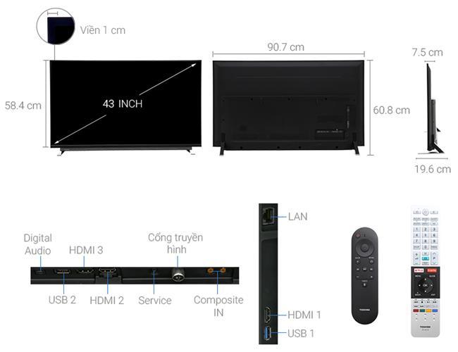 TIVI TOSHIBA 43U7750 ( Smart Tivi, 4k Ultra HD, 43 inch)