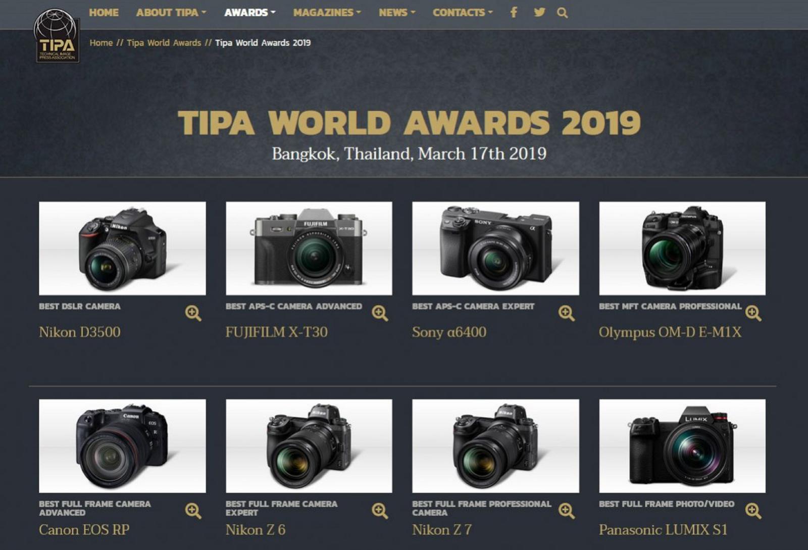 Danh sách máy ảnhxuất sắc nhất năm 2019 do TIPA bình chọn