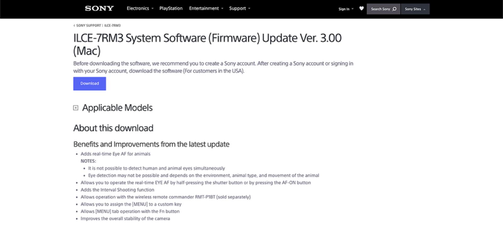 Sony phát hànhbản firmware 3.0 cho Sony A7R iii và Sony A7 iii