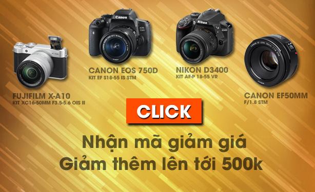 Đặt mua Canon 750D, Canon 50mm f1.8 stm, Nikon D3400, Fuji XA10 với Mã Giảm Giá lên tới 500.000 đ