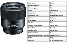 Tokina giới thiệu ống kính lấy nét tự động FíRIN 20mm F2.0 FE AF cho Sony E-Mount