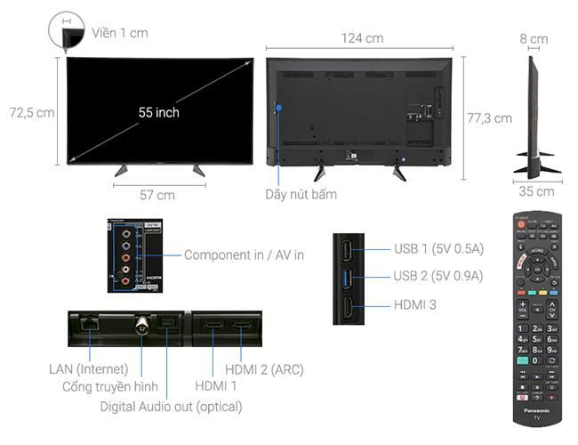 Tivi Panasonic TH-55EX600V (Smart Tivi, 4K ULTRA HDR, 55 icnh)