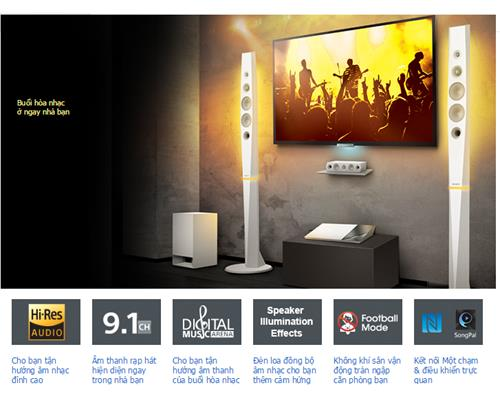 Dàn Âm Thanh 3D Blu-ray 5.1 Sony BDV-N9200WL (Trắng)